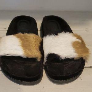 Zara fur slides